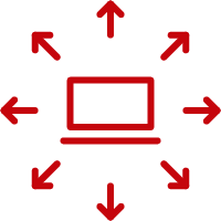 Laptop with arrows pointing in multiple directions