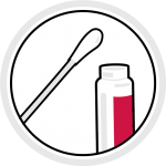 Cotton swab and vial icon representing COVID-19 testing