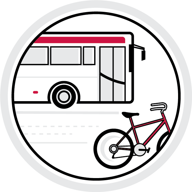 illustration of a bus and a bike