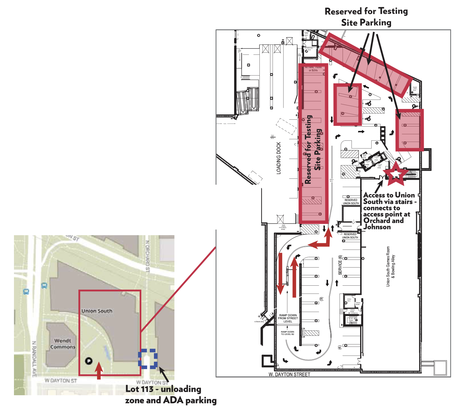 Map showing designated COVID-19 testing and ADA parking spots. Read prior text for details.