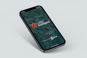 Safer Badgers logo on an iPhone screen