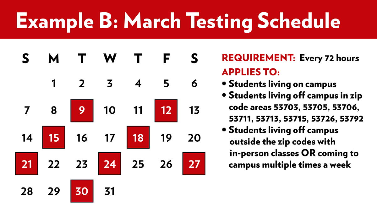March Testing Schedule B