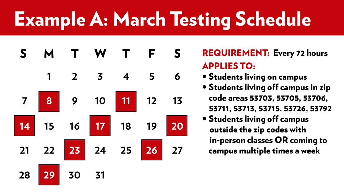 March Testing Schedule A