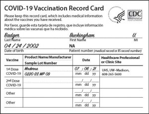 A sample CDC vaccination card showing the five fields — noted above — that must be filled in.